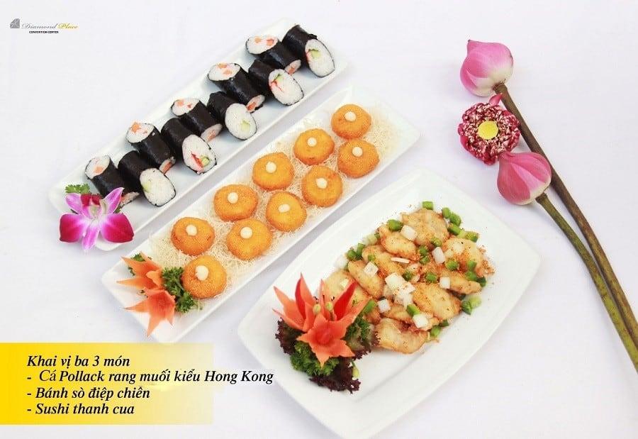 Khai vị: Cá pollack rang muối Hong Kong - Bánh sò điệp chiên - Sushi thanh cua